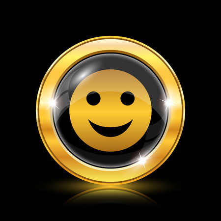smily face: Golden shiny icon on black background - internet button