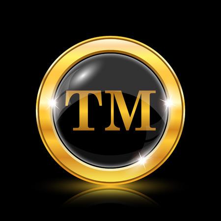 Golden shiny icon on black background - internet button Vector Illustration
