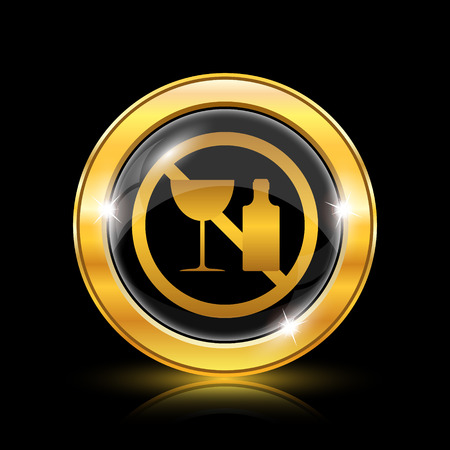 harm: Golden shiny icon on black background - internet button