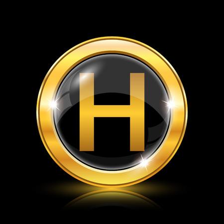 hobble: Golden shiny icon on black background - internet button