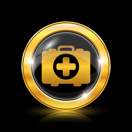 first aid kit key: Golden shiny icon on black background - internet button