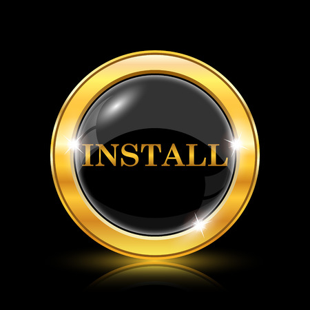 Golden shiny icon on black background - internet button Stock Vector - 26771448
