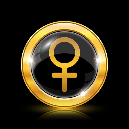 Golden shiny icon on black background - internet button Vector