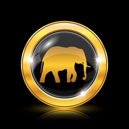 endanger: Golden shiny icon on black background - internet button