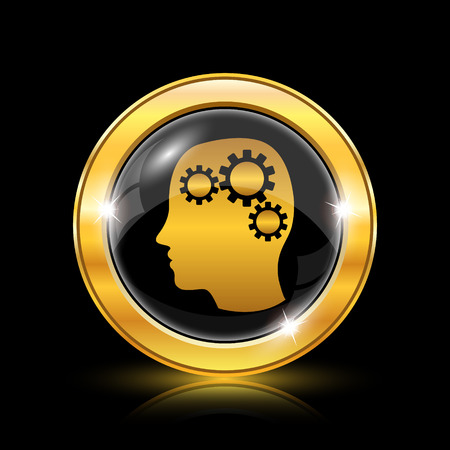 mind power: Golden shiny icon on black background - internet button