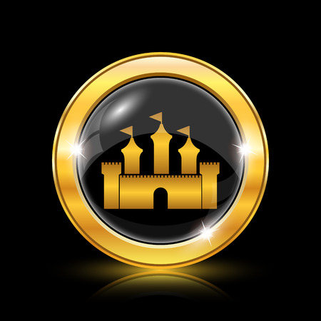 land mark: Golden shiny icon on black background - internet button