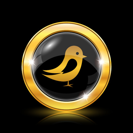 chirp: Golden shiny icon on black background - internet button