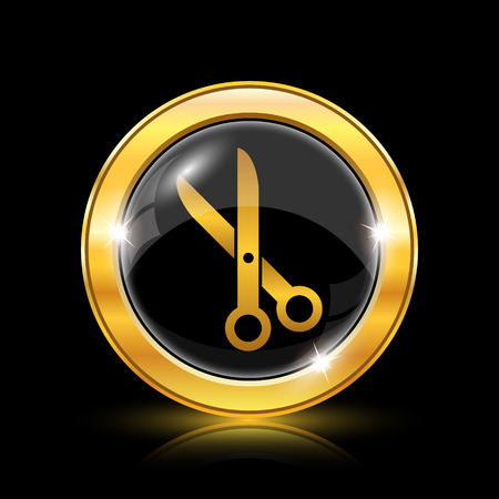 Golden shiny icon on black background - internet button Stock Vector - 26770101