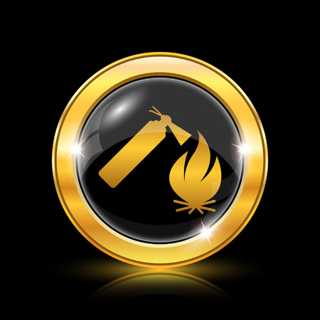 firealarm: Golden shiny icon on black background - internet button