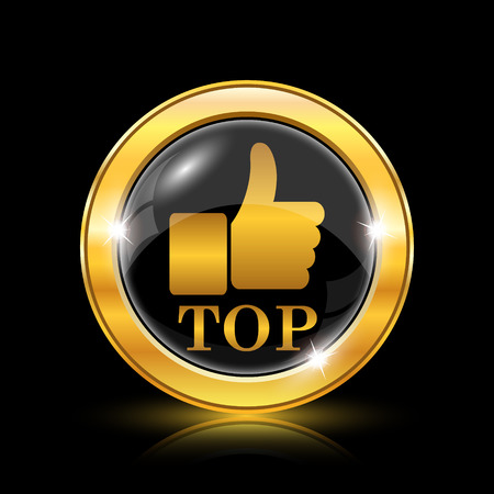 best rated: Golden shiny icon on black background - internet button