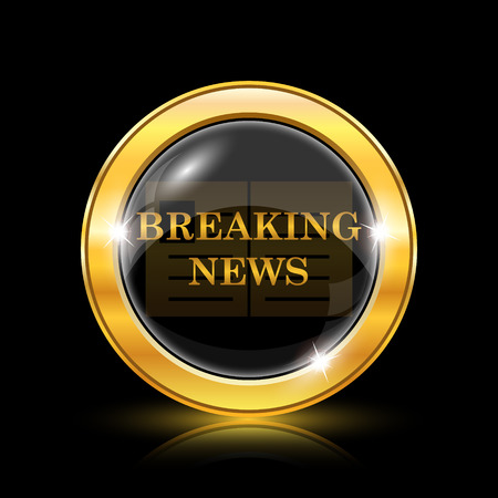 newscast: Golden shiny icon on black background - internet button