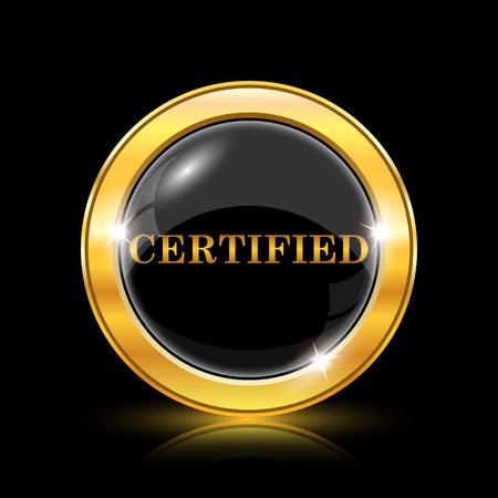 certify: Golden shiny icon on black background - internet button