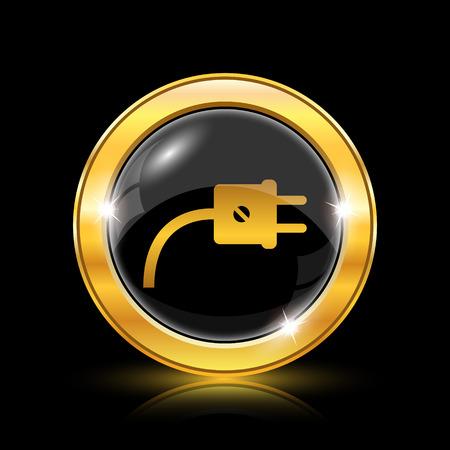 黒の背景に - インターネット ボタン黄金の光沢のあるアイコン  イラスト・ベクター素材