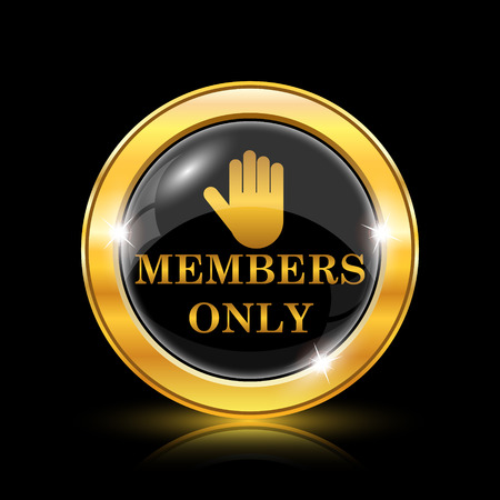 permission: Golden shiny icon on black background - internet button