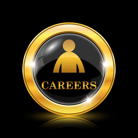 hired: Golden shiny icon on black background - internet button
