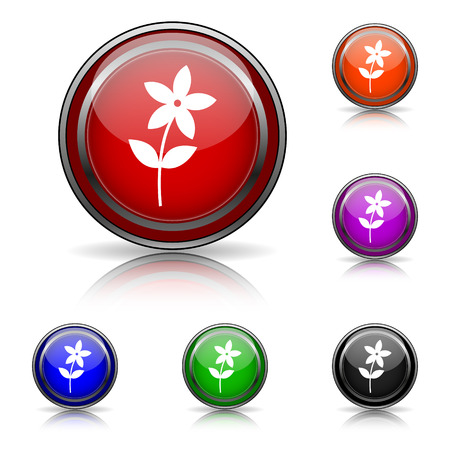 Shiny glossy colored icons - six colors vector set - eps10 Vector