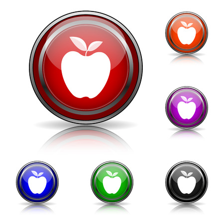 www tasty: Shiny glossy colored icons - six colors vector set - eps10