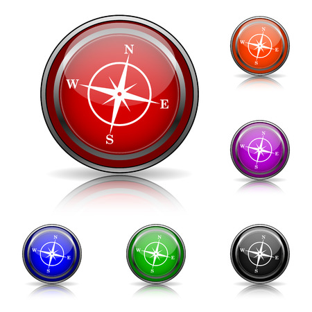 geodesy: Shiny glossy colored icons - six colors vector set - eps10