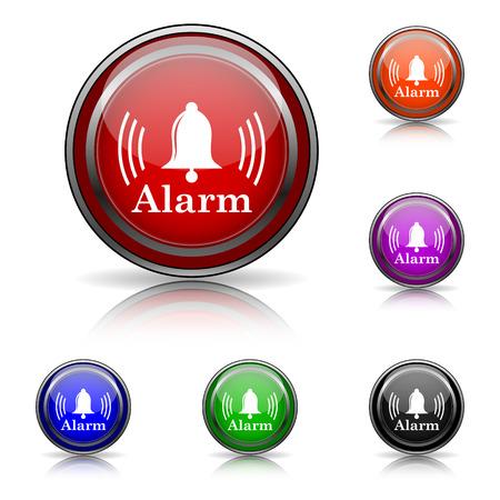 alert ribbon: Shiny glossy colored icons - six colors vector set - eps10