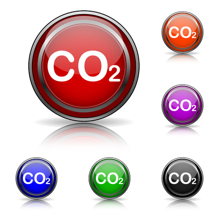 danger carbon dioxide  co2  labels: Shiny glossy colored icons - six colors vector set - eps10