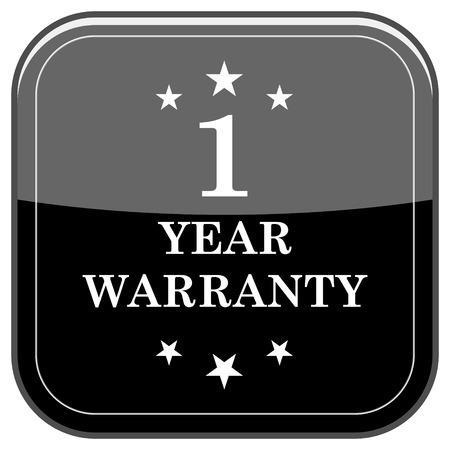 one year warranty: Glossy shiny icon - black internet button