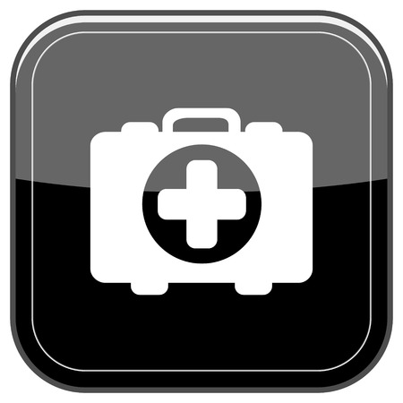 first aid kit key: Glossy shiny icon - black internet button