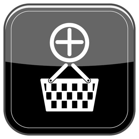Glossy shiny icon - black internet button photo