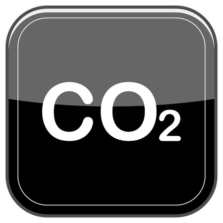 danger carbon dioxide  co2  labels: Glossy shiny icon - black internet button