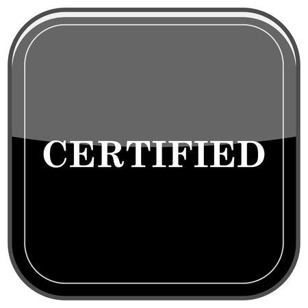 accredit: Glossy shiny icon - black internet button