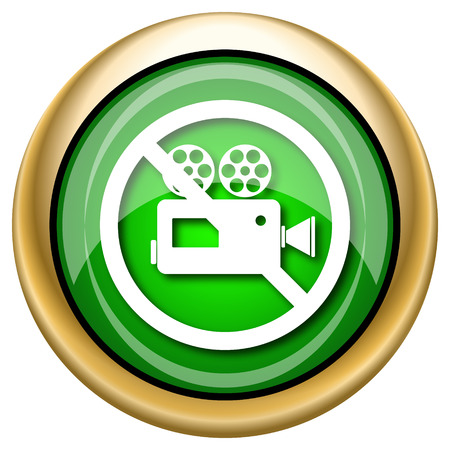 Shiny glossy green and gold icon - internet button Stock Photo - 27229294