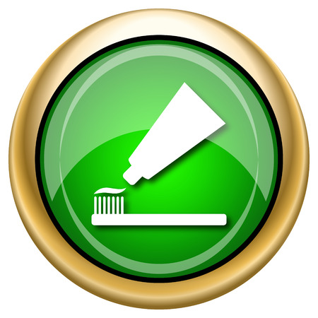 fluoride toothpaste: Shiny glossy green and gold icon - internet button