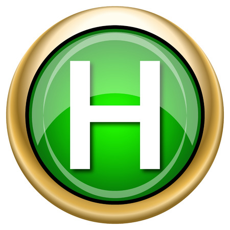 hobble: Shiny glossy green and gold icon - internet button