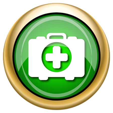 first aid kit key: Shiny glossy green and gold icon - internet button