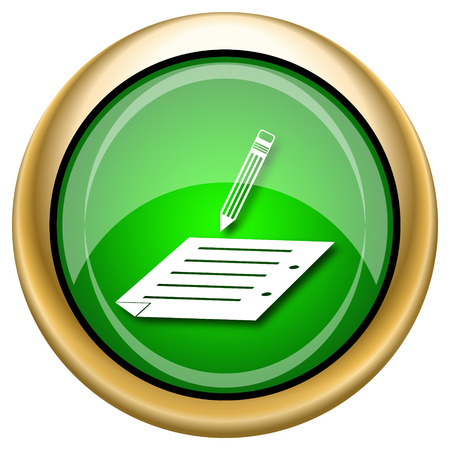 subscribing: Shiny glossy green and gold icon - internet button