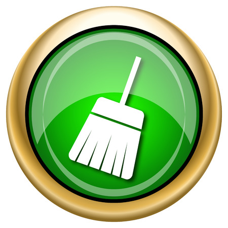 Shiny glossy green and gold icon - internet button photo