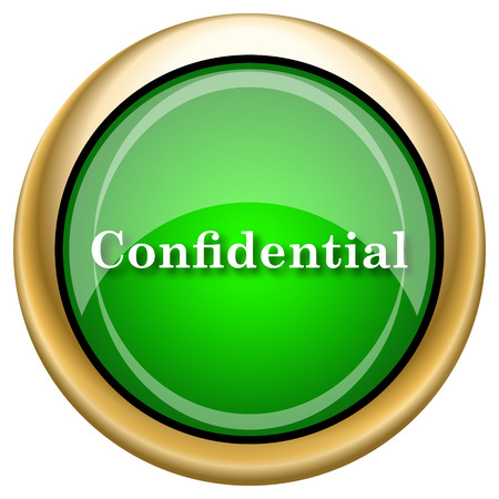 confidentiality: Shiny glossy green and gold icon - internet button