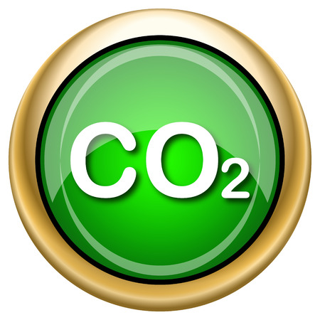 danger carbon dioxide  co2  labels: Shiny glossy green and gold icon - internet button