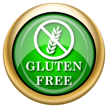 preservatives: Shiny glossy green and gold icon - internet button