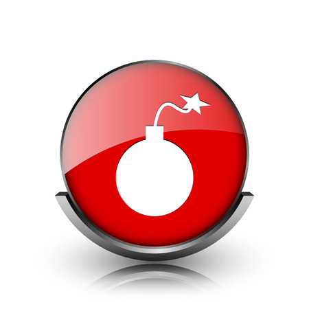mines: Red shiny glossy icon on white background Stock Photo