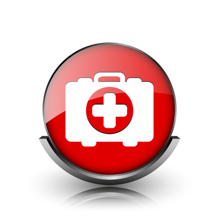 first aid kit key: Red shiny glossy icon on white background Stock Photo