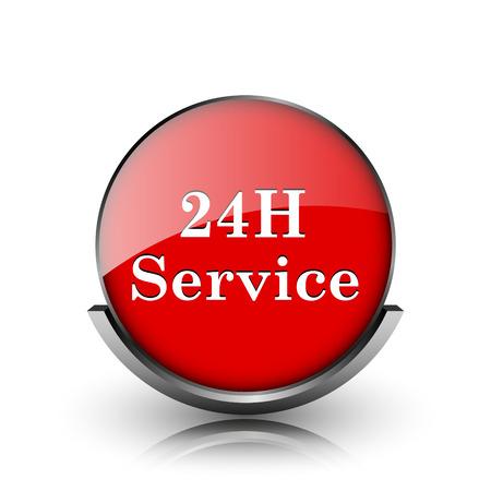 twenty four hour: Red shiny glossy icon on white background Stock Photo
