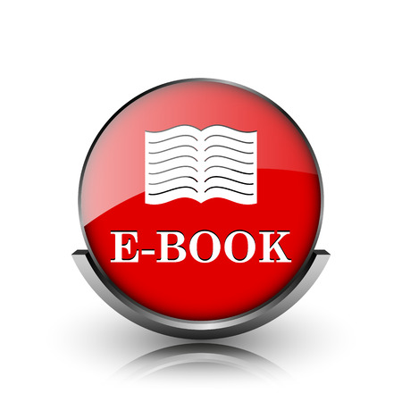 audiobook: Red shiny glossy icon on white background Stock Photo