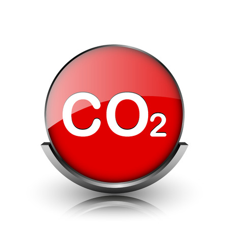 danger carbon dioxide  co2  labels: Red shiny glossy icon on white background Stock Photo