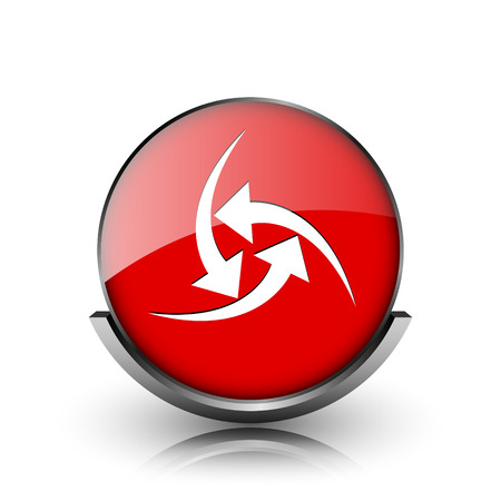 Red shiny glossy icon on white background photo