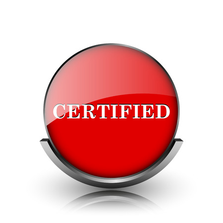 ratification: Red shiny glossy icon on white background Stock Photo