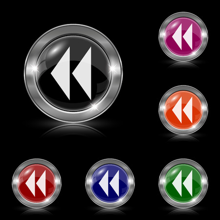 rewind icon: Silver shiny icons - six colors vector set