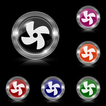conditioned: Silver shiny icons - six colors vector set Illustration