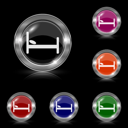Silver shiny icons - six colors vector set Stock Vector - 27872640