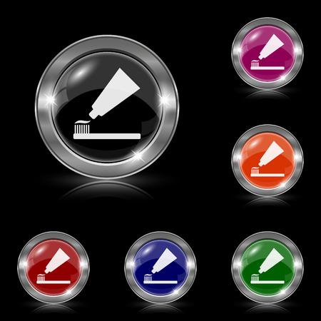 Zilver glimmende iconen - zes kleuren vector set Stock Illustratie