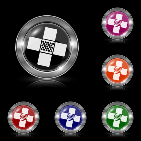 Silver shiny icons - six colors vector set Vector